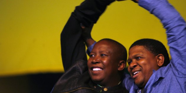 JOHANNESBURG, SOUTH AFRICA - 7 April 2008: Outgoing ANC Youth League president Fikile Mbalula and Julius Malema at the ANCYL presidential elections on 7 April 2008 in Johannesburg, South Africa. (Photo by Gallo Images/Sunday Times/Muntu Vilakazi)