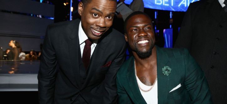 LOS ANGELES, CA - JUNE 29:  Host Chris Rock (L) and actor/comedian Kevin Hart attend the BET AWARDS '14 at Nokia Theatre L.A. LIVE on June 29, 2014 in Los Angeles, California.  (Photo by Johnny Nunez/BET/Getty Images for BET)