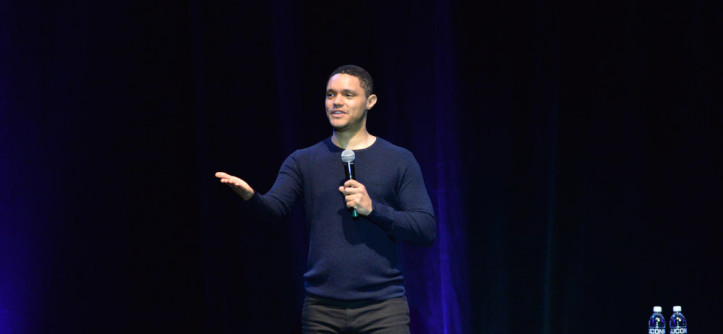 4/1/2017 Trevor Noah by Amor Batra  Trevor Noah has the audience in stitches in Jorgensen on Saturday, April 1, 2017. Noah is the current host of the Daily Show.